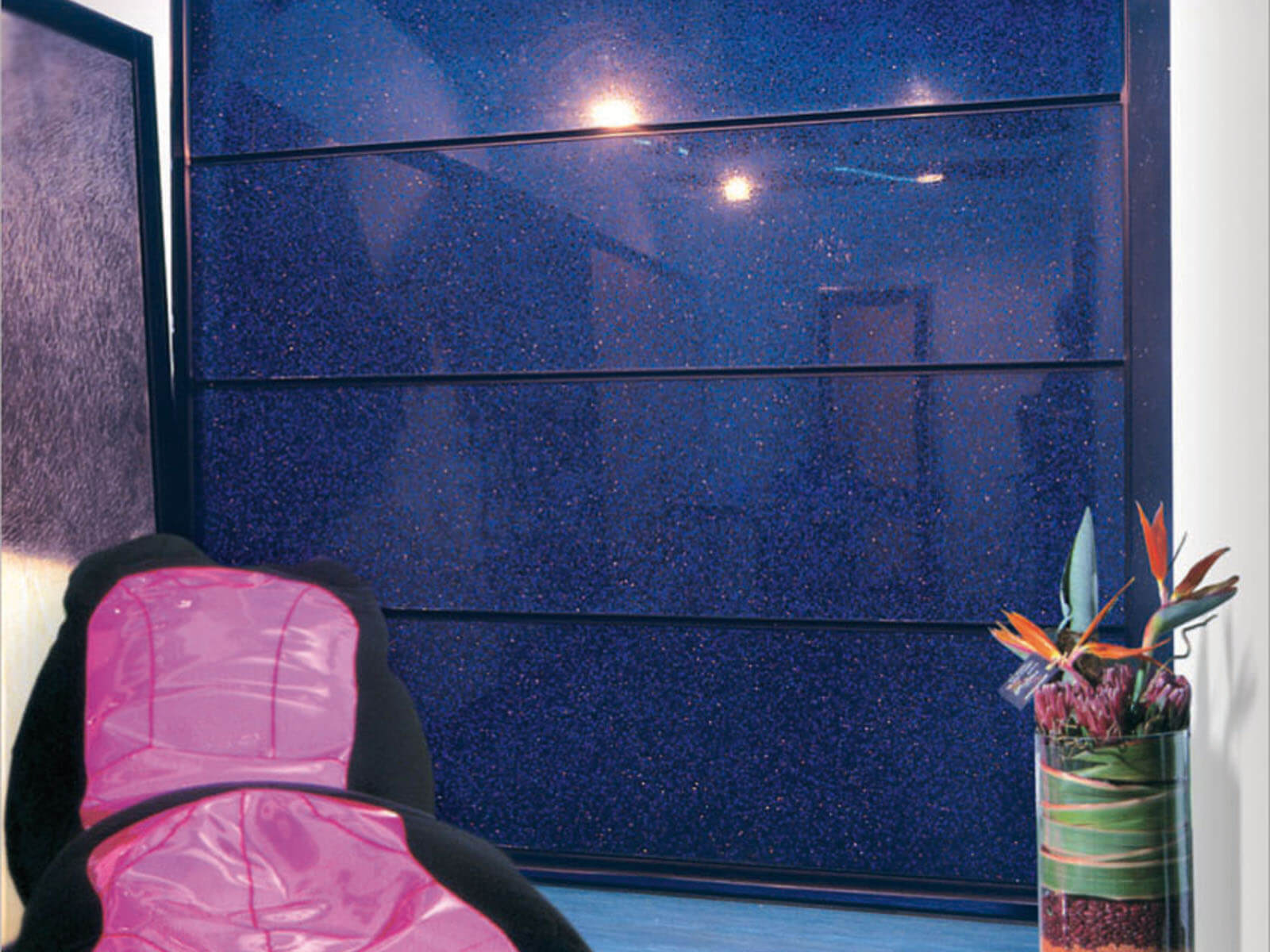 Portone di design Le Perle RESINS JEWELS - Marmo blu sotto resina